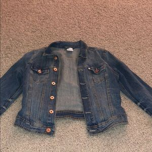 Cropped jean jacket with rose gold buttons
